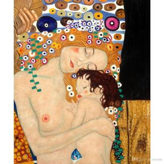 gustav-klimt-portrait-mother-and-child-oil